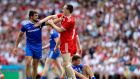 Monaghan's Drew Wylie and Colm Cavanagh of Tyrone scuffle during the game. Photo: Ryan Byrne/Inpho