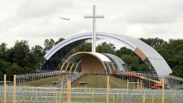 Work is under way at the site of the World Meeting of Families Phoenix Park Mass with Pope Francis. Photograph: Dara Mac Dónaill