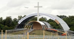 Work under way at the site of the papal Mass at the Phoenix Park in Dublin. Photograph: Dara Mac Dónaill