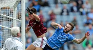 Jack McCaffrey is denied a goal by Galway's Sean Kelly during the semi-final at Croke Park. Photograph: Laszlo Geczo/Inpho