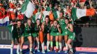 Ireland celebrate with their silver medals after their field hockey World Cup final loss to the Netherlands. Photo: Daniel Leal-Olivas/Getty Images