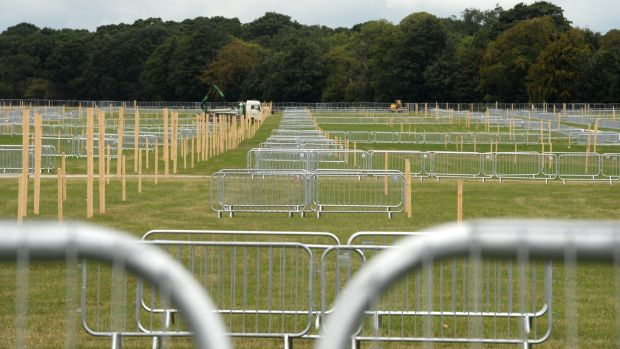 Gargantuan quantities of barriers are already in place for the World Meeting of Families Mass at the Phoenix Park. Photograph: Dara Mac Dónaill/The Irish Times