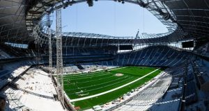 Work continues on Tottenham Hotspur's new stadium, pictured in late June, and it was scheduled to be finished for the Liverpool game on 15 September. Photograph: Tottenham Hotspur FC via Getty Images