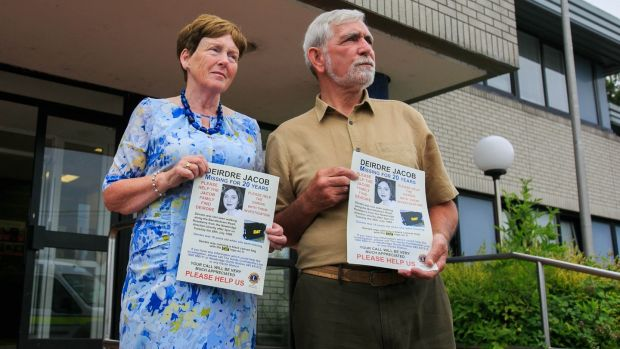 Parents of Deirdre Jacob, Michael and Bernadette Jacob, at Naas Garda station, Co Kildare during an appeal to the public marking the 20th Anniversary Deirdre's disappearance this year. Photograph: Gareth Chaney/Collins