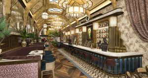 A computer-generated image of the renovated Cafe en Seine