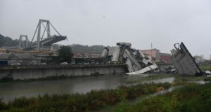 A large section of the Morandi viaduct which collapsed in Genoa. Photograph: EPA