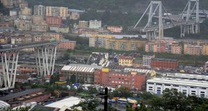 The collapsed Morandi Bridge is seen in the Italian port city of Genoa. Photograph: Reuters