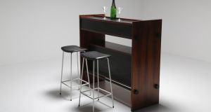 Danish drinks bar from the Vintage Hub (€2,500) with Kandya stools by Frank Guille (€225 each)