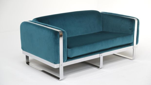 Chrome teal sofa from Mid-Century Online (€4,950)