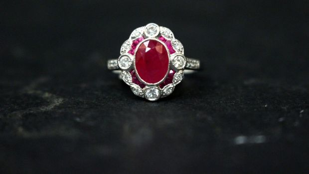 Lot 6, art deco ruby and diamond ring