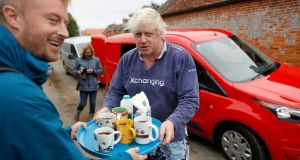 Britain's former foreign secretary Boris Johnson: in wake of his remarks, he offers tea not adult words to journalists. Photograph: Peter Nicholls