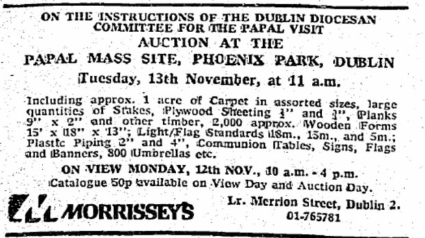 An ad for the papal auction, 1979, in 'The Irish Times'.