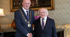 Michael D Higgins and Niall Ring, the Lord Mayor of Dublin: The Office of President does not fall under the remit of the Freedom of Information Act 2014 but receives significant public funding. Photograph:  Maxwell Photography