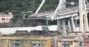 Shares of Italy's Atlantia, which owns Autostrade, fell 5.4%  after a large section of the Morandi viaduct upon which the A10 motorway runs collapsed in Genoa. At least 22 people are believed to have died. Photograph: Flavio Lo Scalzo/EPA