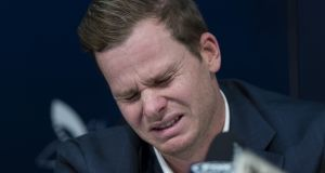 An emotional Steve Smith, following investigations into ball tampering in South Africa. Photograph: Brook Mitchell/Getty Images