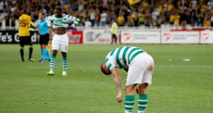 Celtic's Leigh Griffiths after the final whistle in Athens. Photograph: Alkis Konstantinidis/Reuters