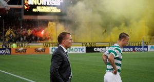 Celtic manager Brendan Rodgers was not happy with his team's defending in Greece. Photograph: Alkis Konstantinidis/Reuters