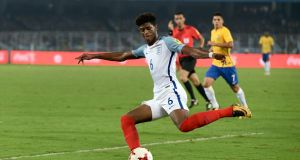 Jonathan Panzo, in action during the Under 17 World Cup last year, has joined Monaco. Photograph: Getty Images