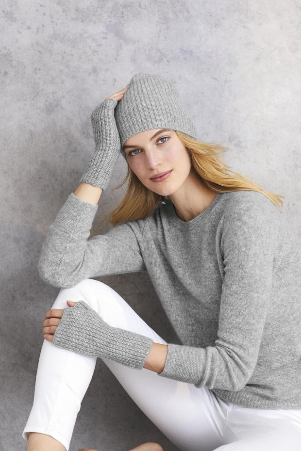 Wrist warmers €51, jumper €128 and skinny jeans €116