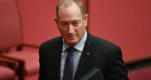 "Katter's Australian Party senator Fraser Anning at Parliament House in Canberra on Tuesday. Prime minister Malcolm Turnbull called his remarks a ""shocking insult"" to the millions of Jews who perished in the Holocaust. Photograph: Mick Tsikas/EPA"
