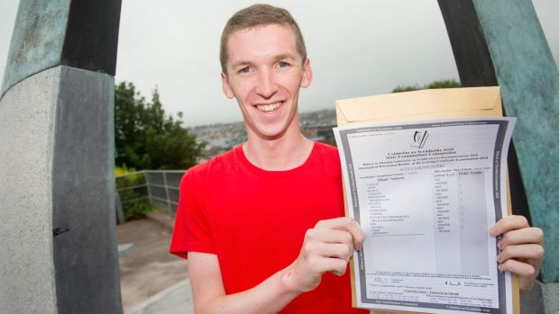 Alex Burke from Montenotte after receiving his results. Photograph: Daragh Mc Sweeney/Provision