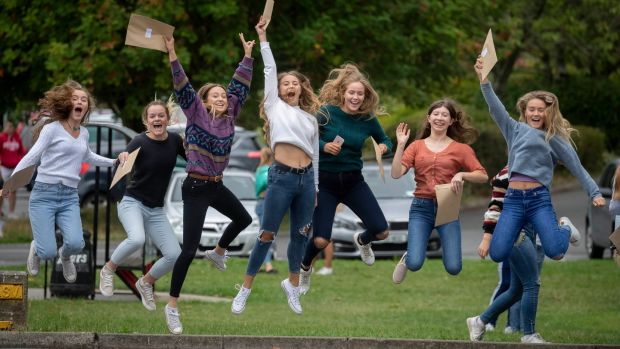 From left Anna Dowley, Kara Fitzherbert, Nicola Pratt, Sara Deacon, Holly Moynan, Vicky Woods and Hanah Condell getting the Leaving Certificate results at Kilkenny College. Photograph: Dylan Vaughan