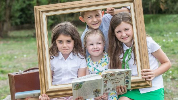 Lydia Cunningham, Connor Foley, Arwen Phelan and Lily Treacy get ready for the Graiguenamanagh Town of Books Festival in Kilkenny. It runs from August 24th to 26th. Photograph: Pat Moore