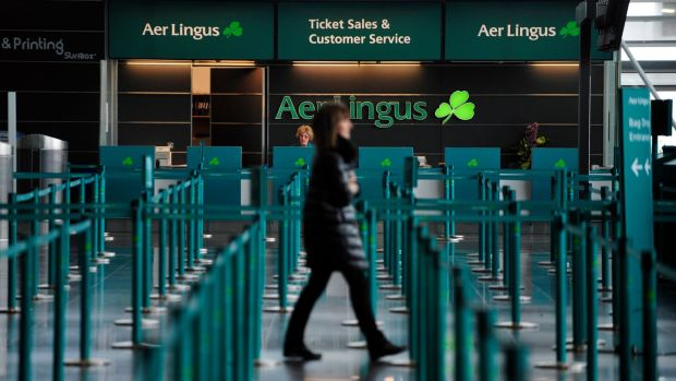 The Aer Lingus ticket and customer services desk in the departure hall at Dublin Airport. Photograph: Aidan Crawley/Bloomberg