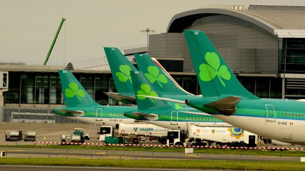 Aer Lingus aircraft at Dublin Airport. Photograph: Cyril Byrne