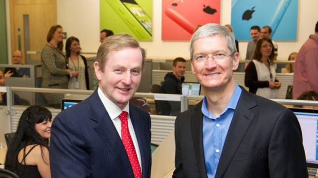 "Former taoiseach Enda Kenny and Apple chief executive Tim Cook visit Apple's campus in Cork in 2014: ""Civil marriage equality will further promote Ireland as a leading place to work and do business,"" said Mr Kenny."