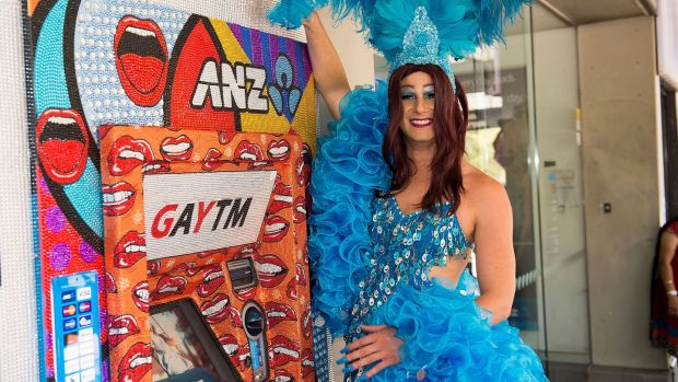 A GayTM for the Sydney Gay Mardi Gras Festival in 2014: rainbow colours and kitsch designs disguise the machines that often bring bad news. Photograph: Cassandra Hannagan/Getty