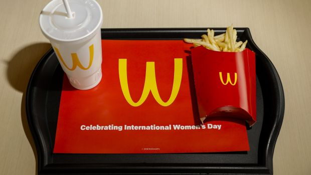 "McDonald's flipped its ""M"" sign upside down for International Women's Day. Photograph: Jay L Clendenin/Los Angeles Times via Getty"