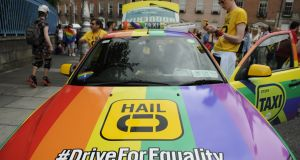 A taxi taking part in the annual Gay Pride Parade in  2015 in Dublin. Photograph: Clodagh Kilcoyne/Getty Images