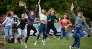 Anna Dowley, Piltown Co. Kilkenny; Kara Fitzherbert, Carlow; Nicola Pratt, Carlow; Sara Deacon, Carlow; Holly Moynan, Ballacolla Co.Laois; Vicky Woods, Tinahely Co. Wicklow and Hanah Condell, Abbeyleix Co. Laois pictured getting the Leaving Certificate results at Kilkenny College in Kilkenny. Photograph: Dylan Vaughan