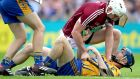 Tempers flare between Clare's David McInerney and Joe Canning of Galway. Photograph: Bryan Keane/Inpho