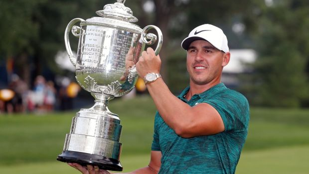 Brooks Koepka holds the Wanamaker Trophy after winning the PGA Championship golf tournament at Bellerive Country Club in St Louis, Missouri last Sunday. Photograph: Jeff Roberson/AP