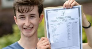 UNBEATABLE: Andres Clarke, who received eight H 1s in his Leaving Certificate, at Oatlands College, Mount Merrion, Dublin. Photograph: Dara Mac Dónaill/The Irish Times