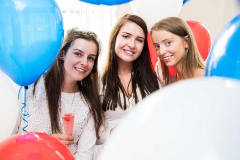 NOTHING BETWEEN THEM: Sandra Dinan from Glanmire (589 points), Katie McCarthy from Carrignavar (588 points) and Myra O'Sullivan, also Carrignavar (590 points), celebrate their Leaving Cert results. Photograph: Darragh Kane