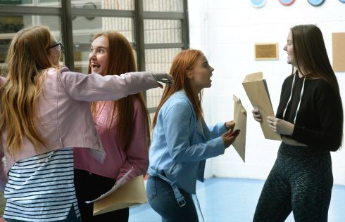 SHOUT IT OUT: Chloe Nesbitt (left), Rachel Manley, Emma Keogh and Jennifer Burke get their Leaving Cert results at Pobalscoil Neasáin, Baldoyle, Dublin. Photograph: Dara Mac Dónaill/The Irish Times