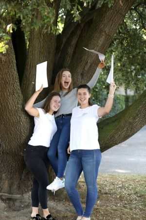 BRANCHING OUT: Eleanor Dillon (left); Eimear Callagy, Moyvalley, Co Kildare, and Ali McCluckey, from Drogheda, celebrate their results at Rathdown School, Glenageary, Co Dublin. Photograph: Justin Mac Innes/Jason Clarke Photography