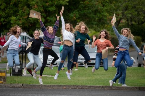 GOOD TIMES: Anna Dowley (left), Piltown, Co Kilkenny; Kara Fitzherbert, Carlow; Nicola Pratt, Carlow; Sara Deacon, Carlow; Holly Moynan, Ballacolla, Co Laois; Vicky Woods, Tinahely, Co Wicklow, and Hannah Condell, Abbeyleix, Co Laois, pick up their results at Kilkenny College. Photograph: Dylan Vaughan