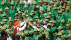 INDEPENDENCE DAY: Indian prime minister Narendra Modi meets schoolchildren after addressing the nation during Independence Day celebrations at the historic Red Fort in Delhi, India. Photograph: Adnan Abidi/Reuters