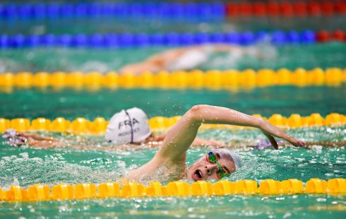DEEP END: Ellen Keane of Ireland warms up prior to the evening finals session on day three of the World Para Swimming European Championships at the Sport Ireland National Aquatic Centre in Blanchardstown, Dublin. Photograph: Seb Daly/Sportsfile