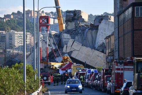 SOBERING SIGHT: A view of the collapsed Morandi Bridge the day after the disaster in Genoa, Italy. The official death toll in Tuesday's highway-bridge failure has risen to 39. Photograph: Luca Zennaro/EPA