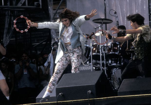 Madonna performs at the Live Aid Concert at the John F. Kennedy Stadium in Philadelphia, Pennsylvania on July 13th, 1985. Photograph: Ron Galella/Wire Image