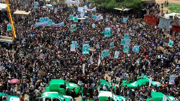 Thousands of Yemenis protest against Saudi Arabia and the US during a mass funeral for the children killed in last week's air strike. Photograph: AFP/Getty Images