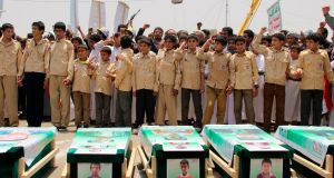 Yemeni children vent anger against Riyadh and Washington on August 13th during  a mass funeral in the northern Yemeni city of Saada  for children killed in an air strike by the Saudi-led coalition last week. Photograph: AFP/Getty Images