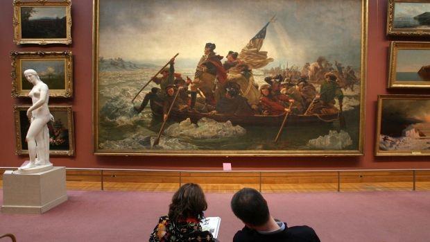 "A pair admires ""Washington Crossing the Delaware"" at the Metropolitan Museum of Art in New York. Photograph: Todd Heisler/The New York Times"