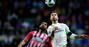 Real Madrid's Sergio Ramos and Atletico's Deigo Costa during the Uefa Super Cup. One Spanish league game a season is now set to be played in the US. Photograph: Javier Soriano/AFP/Getty