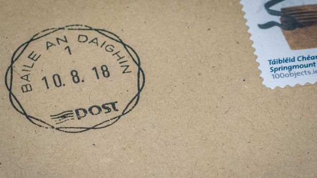 The Ballindine postmark franked on a letter on the last day of business at the Co Mayo post office. Photograph: Keith Heneghan